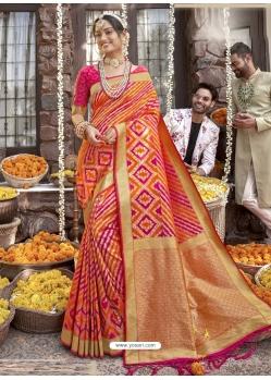 Multi Colour Heavy Designer Wedding Wear Silk Sari