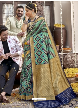 Aqua Mint Heavy Designer Wedding Wear Silk Sari
