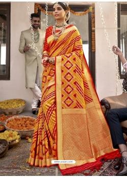 Yellow Heavy Designer Wedding Wear Silk Sari