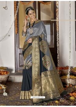 Grey Heavy Designer Wedding Wear Silk Sari