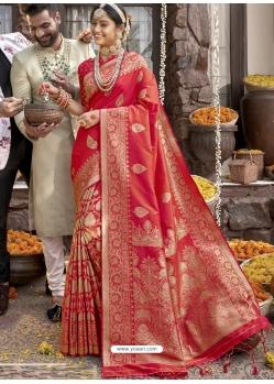Tomato Red Heavy Designer Wedding Wear Silk Sari