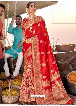 Red Heavy Designer Wedding Wear Silk Sari
