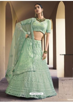 Sea Green Designer Soft Net Wedding Lehenga Choli