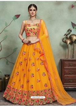 Mustard Designer Soft Net Wedding Lehenga Choli