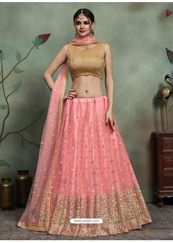 Baby Pink Designer Soft Net Wedding Lehenga Choli