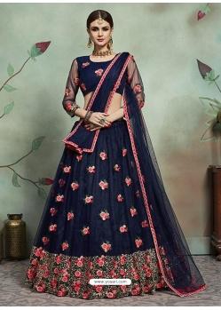 Navy Blue Designer Soft Net Wedding Lehenga Choli