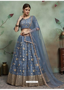 Grey Designer Soft Net Wedding Lehenga Choli