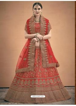 Red Designer Satin Wedding Lehenga Choli