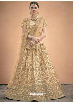 Cream Designer Satin Wedding Lehenga Choli
