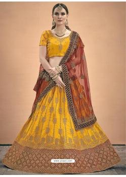 Yellow Designer Satin Wedding Lehenga Choli