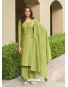 Green Muslin Designer Party Wear Straight Suit