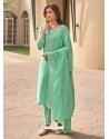 Aqua Mint Muslin Designer Party Wear Straight Suit
