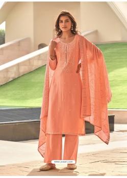 Light Orange Muslin Designer Party Wear Straight Suit