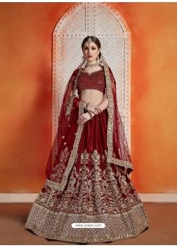 Maroon Designer Wedding Lehenga Choli