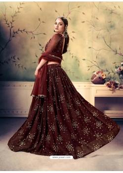 Maroon Designer Georgette Wedding Lehenga Choli