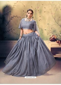 Grey Designer Georgette Wedding Lehenga Choli