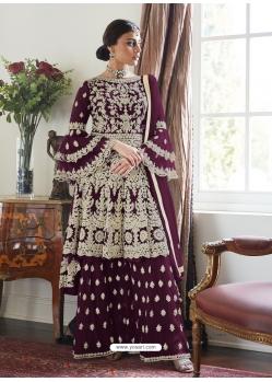 Deep Wine Designer Party Wear Butterfly Net Palazzo Suit