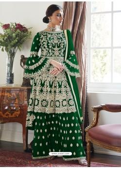 Dark Green Designer Party Wear Butterfly Net Palazzo Suit