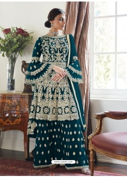 Teal Blue Designer Party Wear Butterfly Net Palazzo Suit