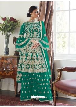 Aqua Mint Designer Party Wear Butterfly Net Palazzo Suit