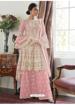 Pink Designer Party Wear Butterfly Net Palazzo Suit