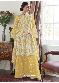 Yellow Designer Party Wear Butterfly Net Palazzo Suit