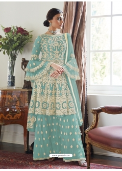Sky Blue Designer Party Wear Butterfly Net Palazzo Suit