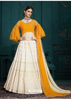 Off White Latest Designer Georgette Wedding Lehenga Choli