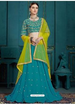 Turquoise Latest Designer Georgette Wedding Lehenga Choli