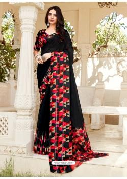 Black Designer Casual Wear Georgette Sari
