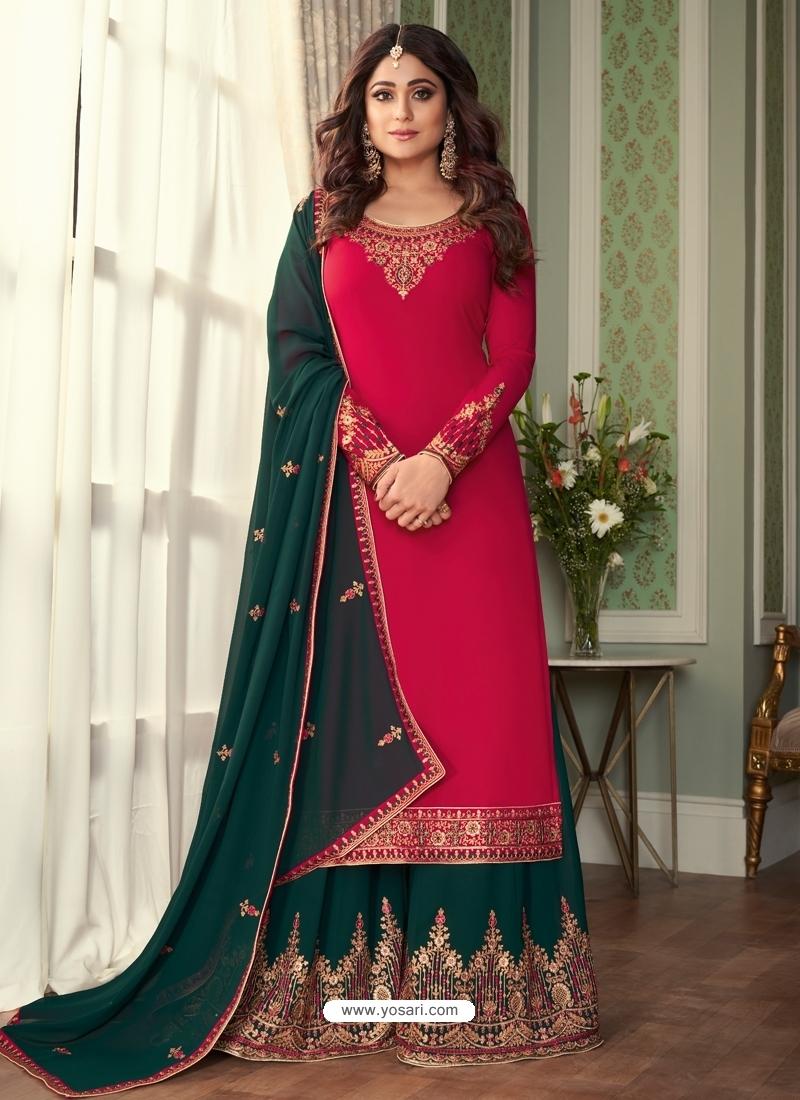 Crimson Designer Party Wear Georgette Palazzo Suit