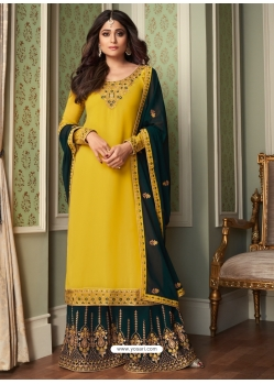 Yellow Designer Party Wear Georgette Palazzo Suit