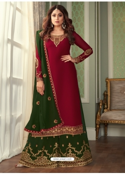 Rose Red Designer Party Wear Georgette Palazzo Suit
