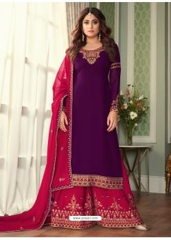Purple Designer Party Wear Georgette Palazzo Suit