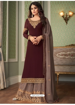 Coffee Designer Party Wear Georgette Palazzo Suit