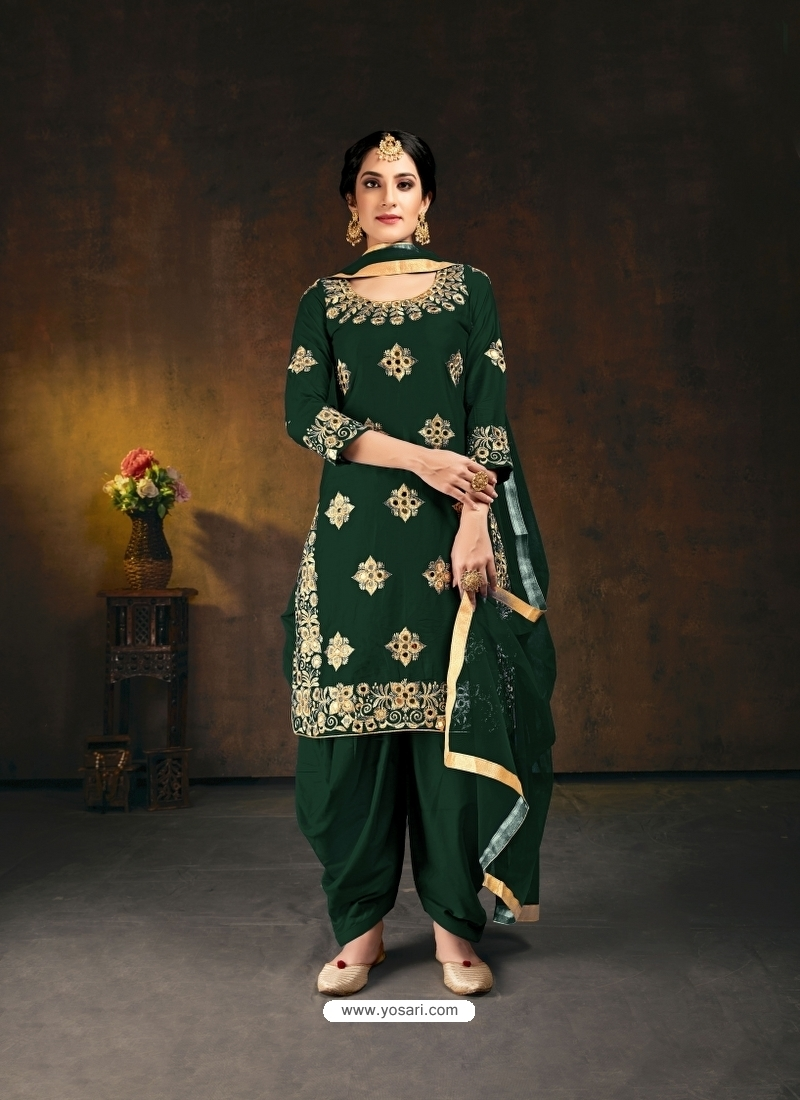 Dark Green Designer Party Wear Bitalian Soft Silk Patiala Suit