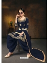 Navy Blue Designer Party Wear Bitalian Soft Silk Patiala Suit