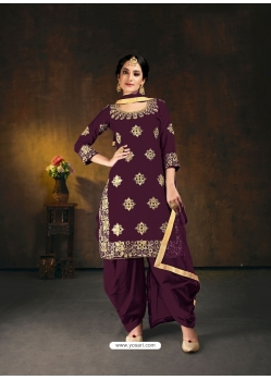 Deep Wine Designer Party Wear Bitalian Soft Silk Patiala Suit