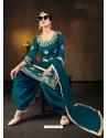 Teal Blue Designer Party Wear Bitalian Soft Silk Patiala Suit