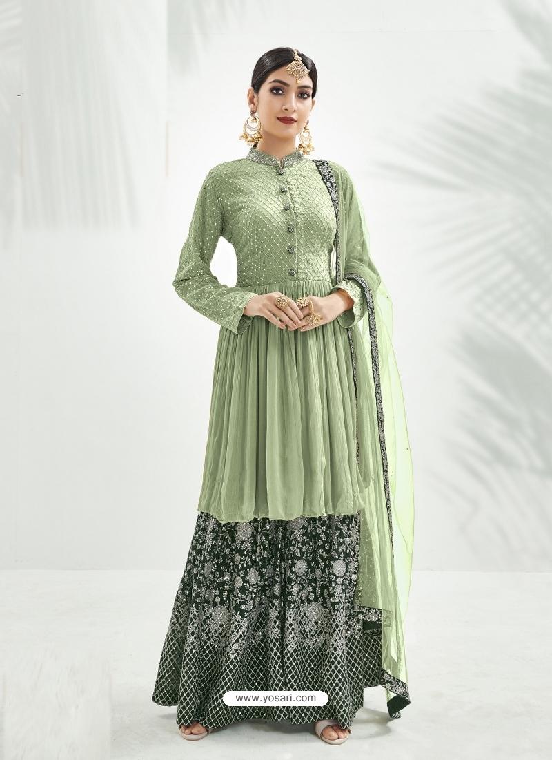 Pista Green Designer Party Wear Chinon Palazzo Suit