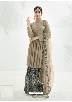 Taupe Designer Party Wear Chinon Palazzo Suit