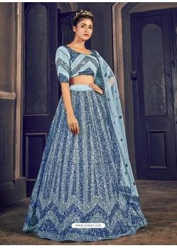 Sky Blue Latest Designer Wedding Lehenga Choli