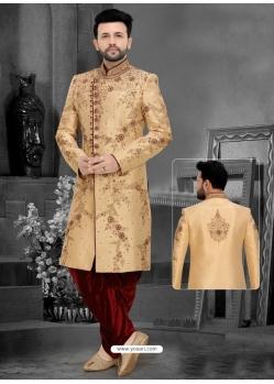 Gold Readymade Designer Indo Western Sherwani