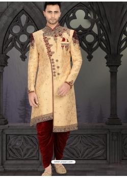 Cream Readymade Designer Indo Western Sherwani