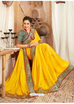 Yellow Heavy Designer Wedding Wear Fancy Fabric Sari