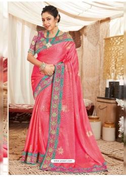 Peach Heavy Designer Wedding Wear Fancy Fabric Sari