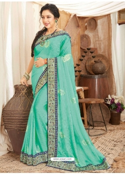 Aqua Mint Heavy Designer Wedding Wear Fancy Fabric Sari