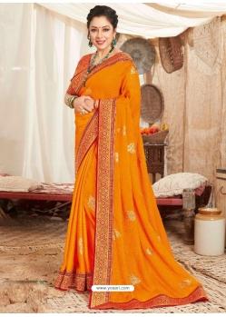 Orange Heavy Designer Wedding Wear Fancy Fabric Sari