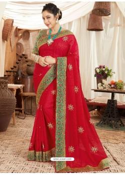 Red Heavy Designer Wedding Wear Fancy Fabric Sari
