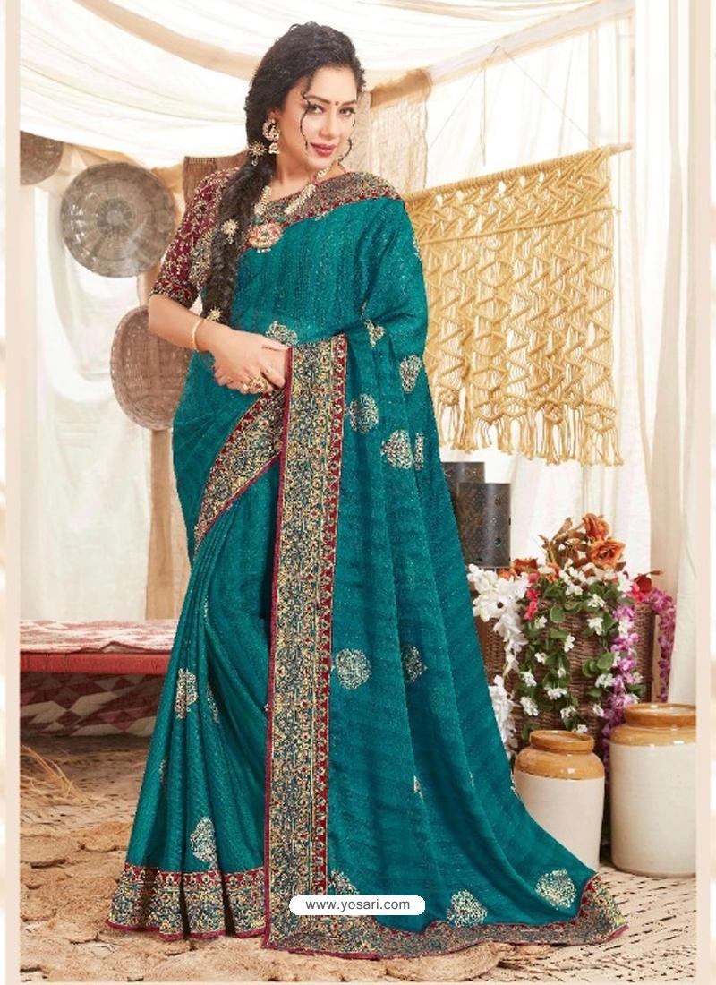 Teal Blue Heavy Designer Wedding Wear Fancy Fabric Sari